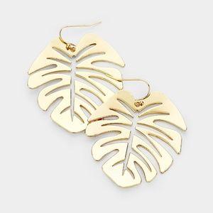 Jewelry - NWT Tropical Palm Leaf Earrings Gold Filigree
